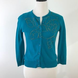 Anthropologie Tabitha chain embroidered cardigan